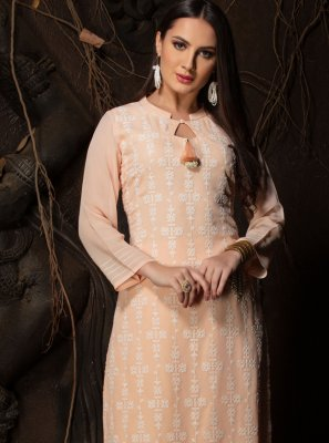 Faux Georgette Chicken Party Wear Kurti in Peach