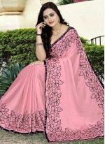 Faux Georgette Classic Designer Saree in Pink