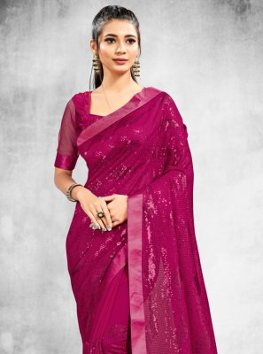 Faux Georgette Classic Saree in Magenta