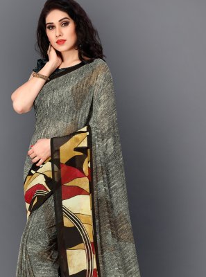 Faux Georgette Contemporary Saree in Multi Colour