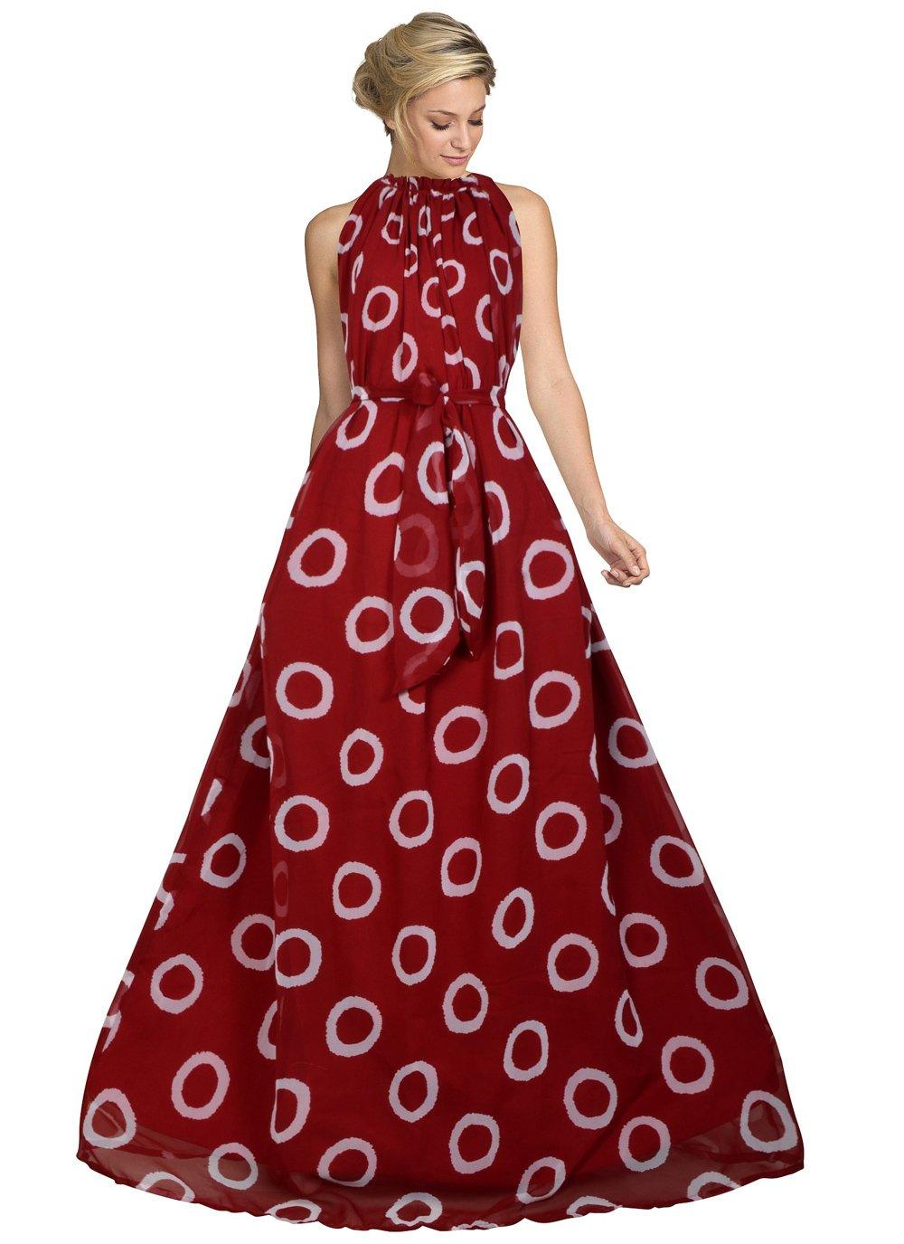 Faux Georgette Designer Gown in Maroon