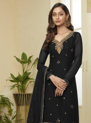 Faux Georgette Designer Palazzo Salwar Kameez in Black