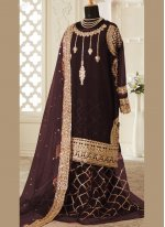 Faux Georgette Designer Palazzo Salwar Suit in Brown
