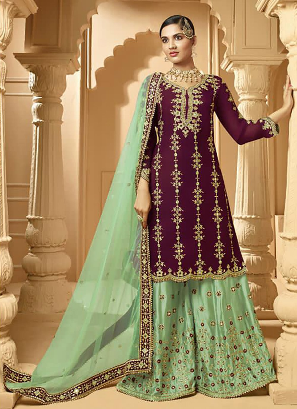Faux Georgette Designer Palazzo Suit in Green and Wine
