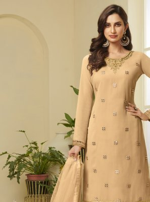 Faux Georgette Designer Palazzo Suit in Mustard