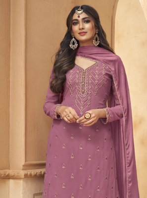 Faux Georgette Designer Palazzo Suit in Purple