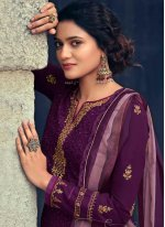 Faux Georgette Designer Straight Suit in Purple