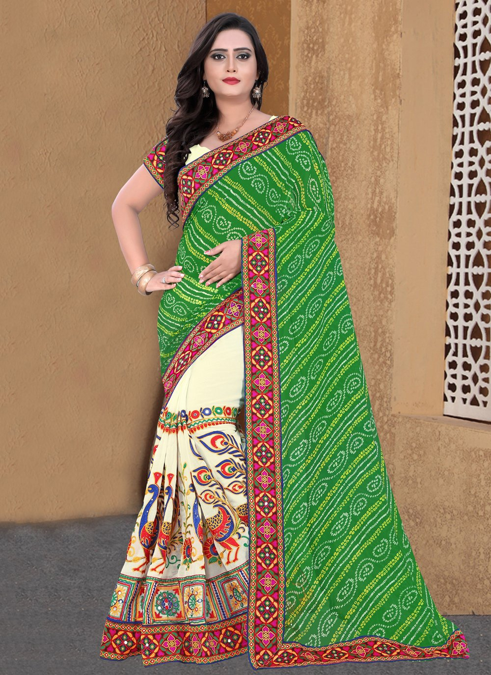 Faux Georgette Embroidered Beige and Green Half N Half  Saree