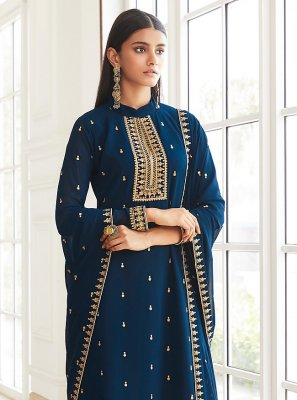 Faux Georgette Embroidered Blue Designer Palazzo Suit