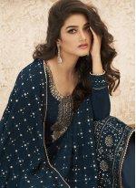 Faux Georgette Embroidered Blue Designer Straight Salwar Suit