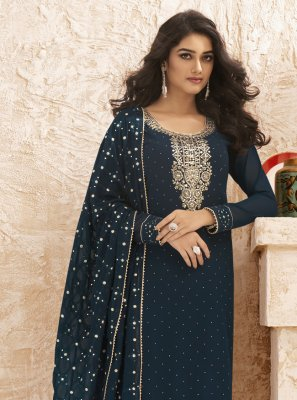 Faux Georgette Embroidered Blue Designer Straight Salwar Suit