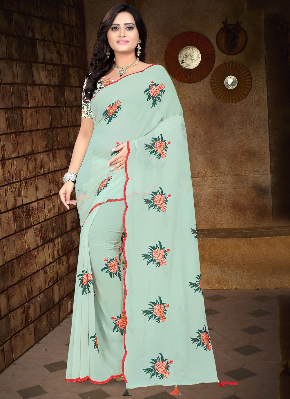 Faux Georgette Embroidered Blue Traditional Saree
