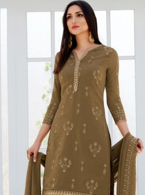 Faux Georgette Embroidered Brown Designer Palazzo Salwar Suit