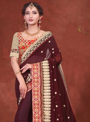 Faux Georgette Embroidered Classic Designer Saree