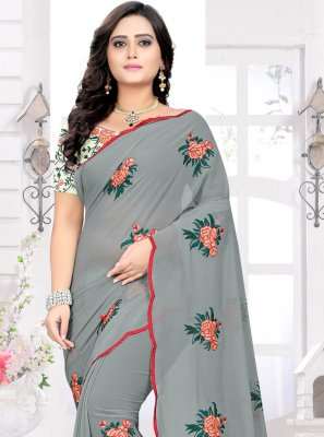 Faux Georgette Embroidered Classic Saree in Grey