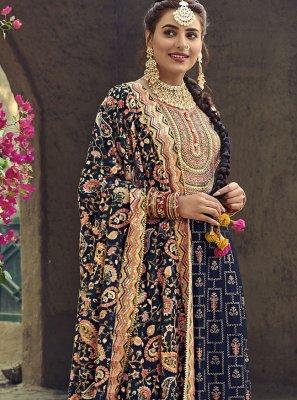 Faux Georgette Embroidered Designer Palazzo Salwar Kameez