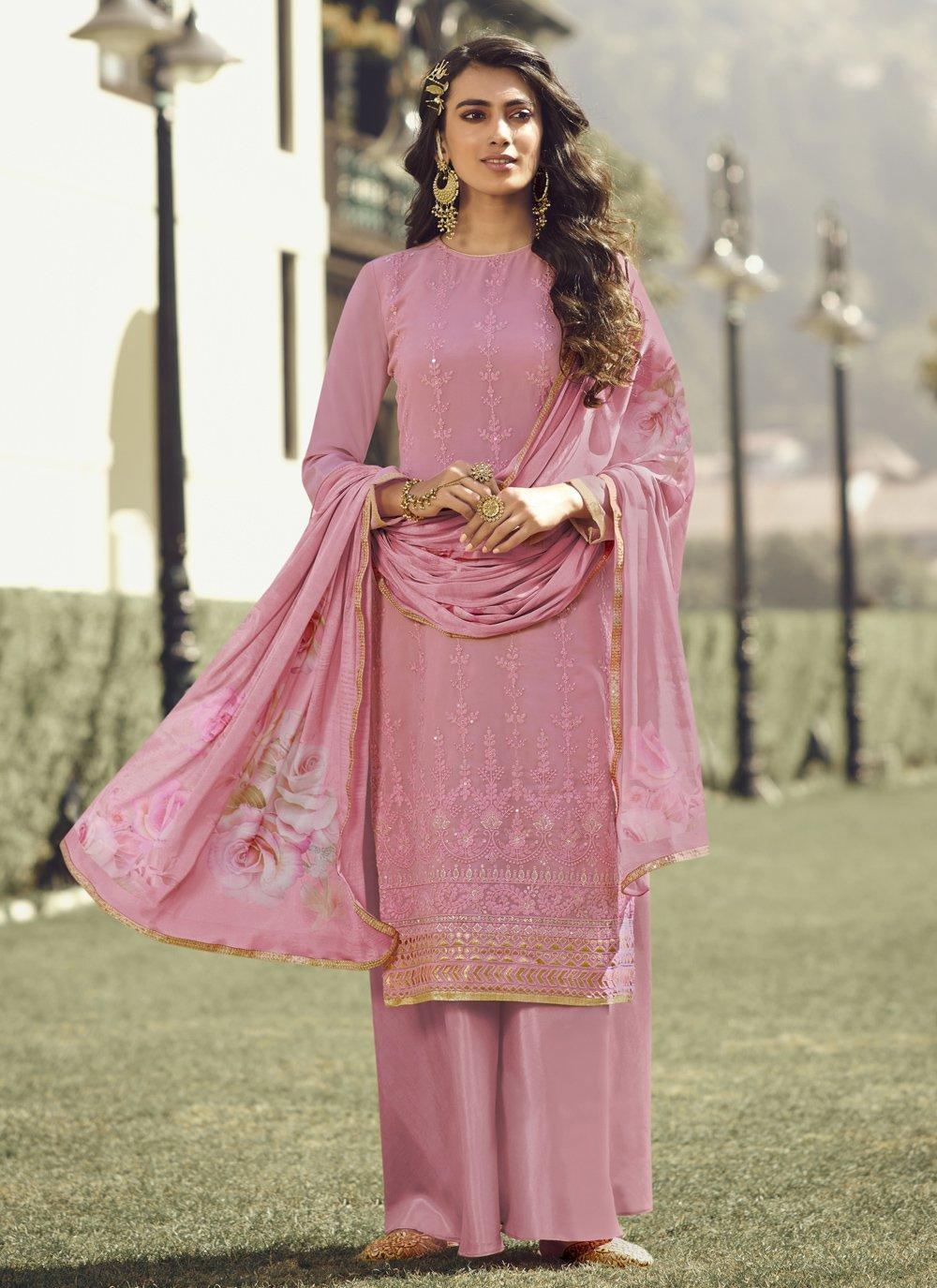 Faux Georgette Embroidered Designer Palazzo Salwar Kameez in Pink