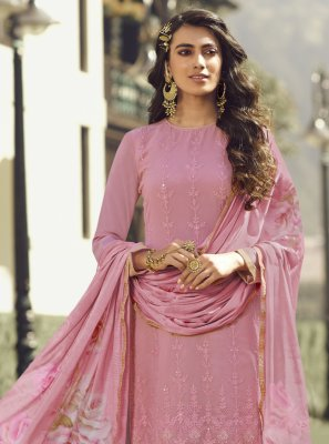 Faux Georgette Embroidered Designer Palazzo Salwar Kameez in Pink
