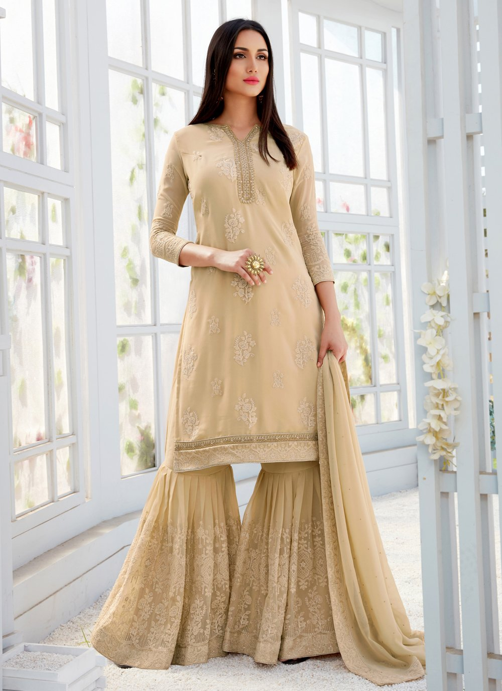 Faux Georgette Embroidered Designer Palazzo Salwar Suit