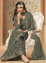 Faux Georgette Embroidered Designer Palazzo Salwar Suit in Grey