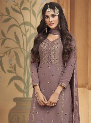 Faux Georgette Embroidered Designer Palazzo Salwar Suit in Lavender
