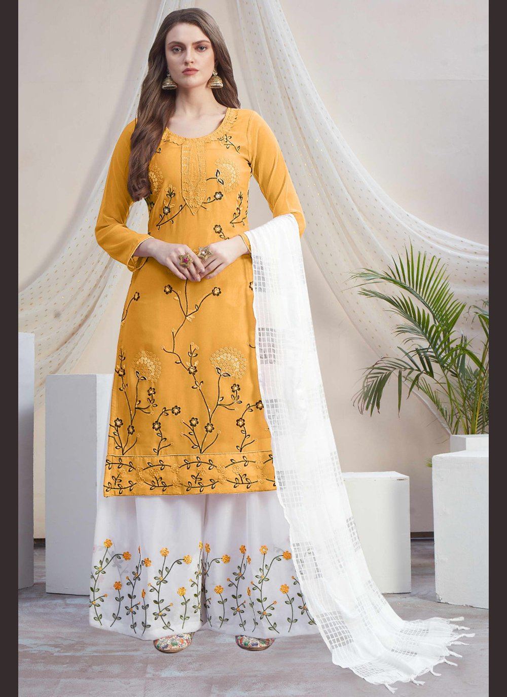 Faux Georgette Embroidered Designer Palazzo Suit in Off White and Yellow