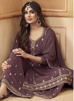 Faux Georgette Embroidered Designer Palazzo Suit in Purple