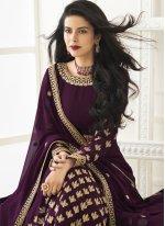 Faux Georgette Embroidered Floor Length Anarkali Suit