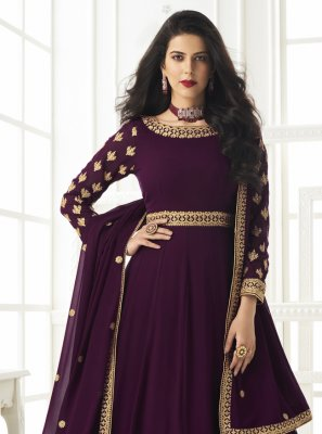 Faux Georgette Embroidered Floor Length Anarkali Suit