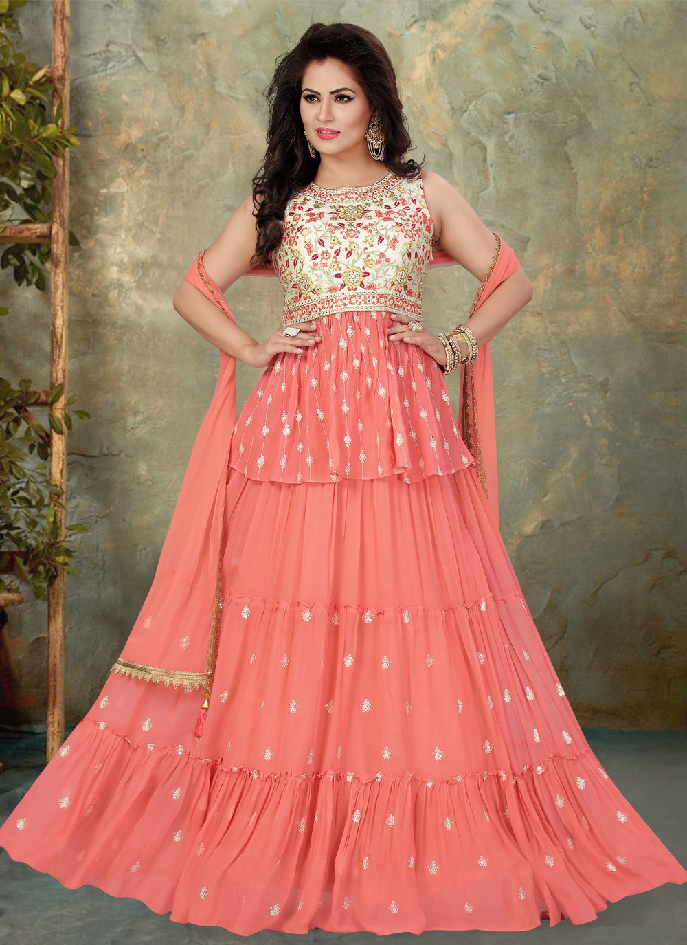 Faux Georgette Embroidered Floor Length Anarkali Suit in Pink