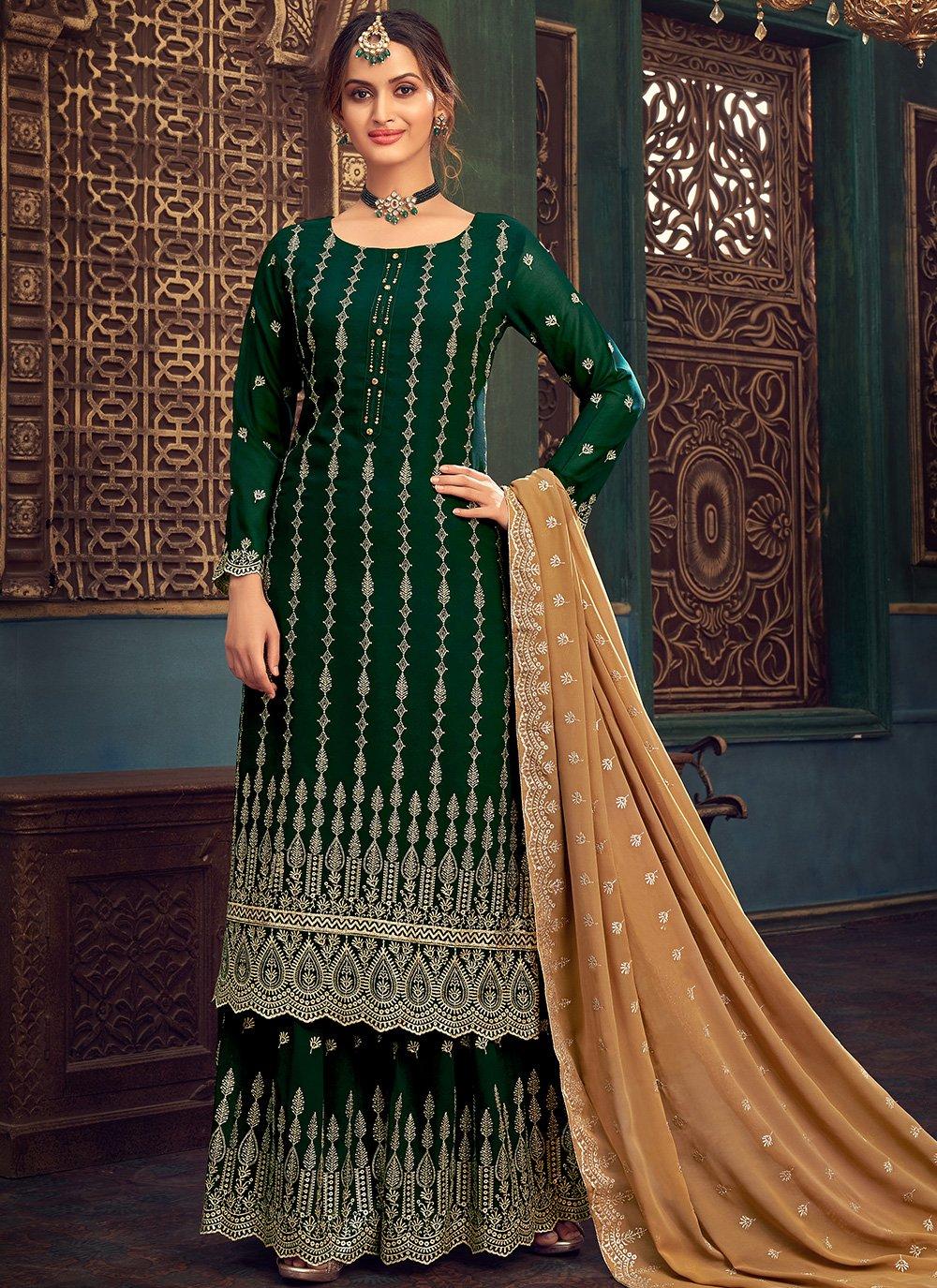 Faux Georgette Embroidered Green Designer Pakistani Salwar Suit