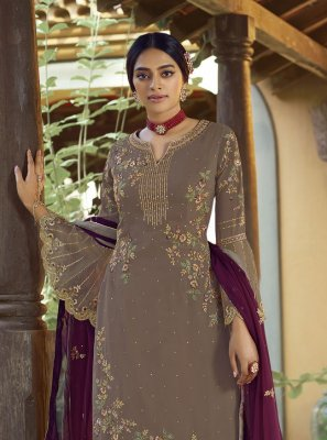 Faux Georgette Embroidered Grey Designer Palazzo Suit