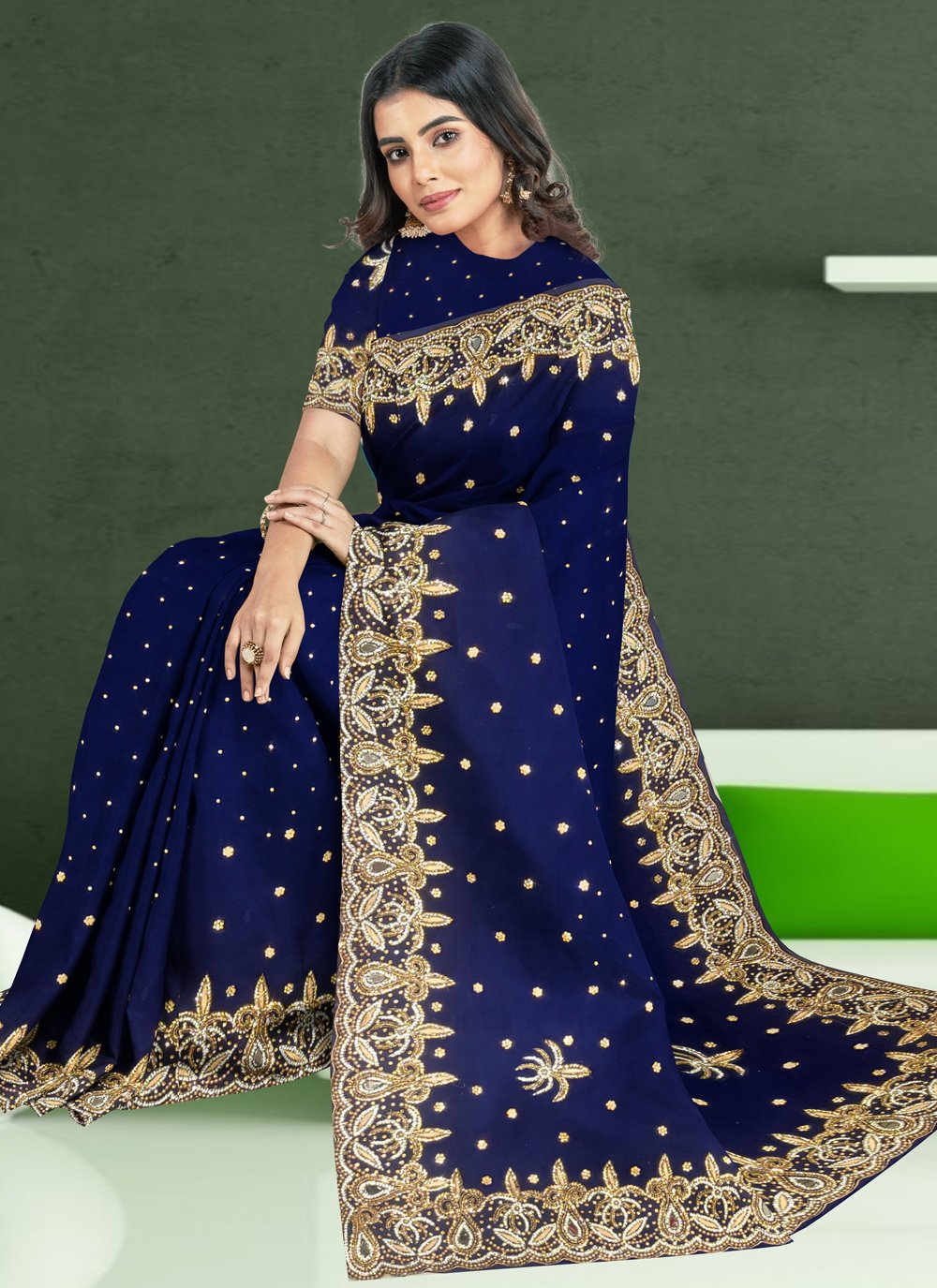 Faux Georgette Embroidered Navy Blue Classic Designer Saree