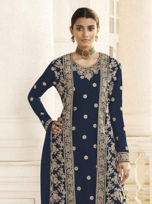 Faux Georgette Embroidered Navy Blue Designer Pakistani Salwar Suit