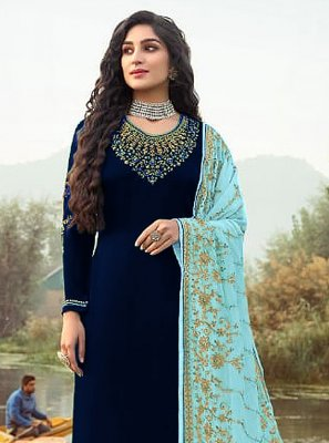 Faux Georgette Embroidered Navy Blue Designer Palazzo Salwar Kameez