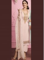 Faux Georgette Embroidered Pant Style Suit in Pink