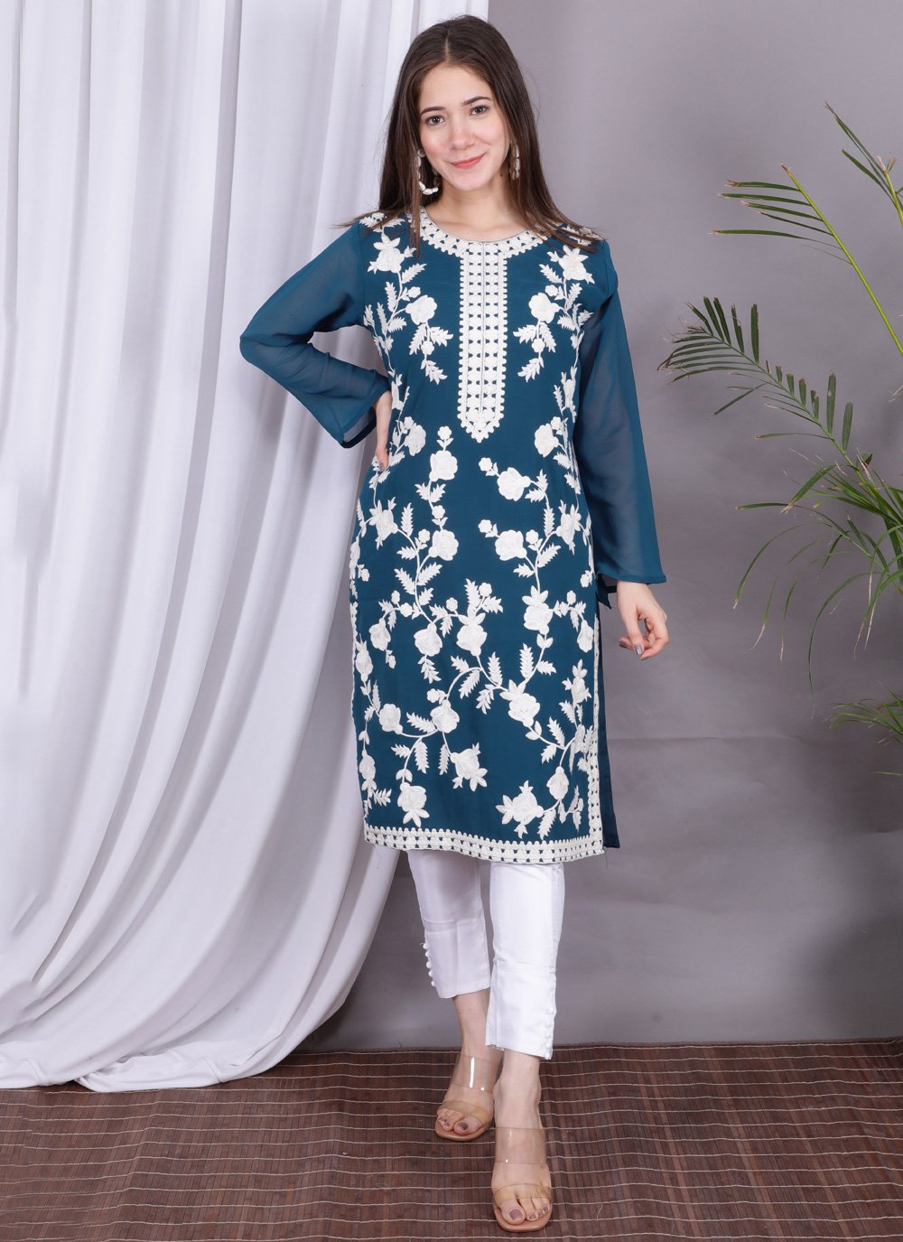 Faux Georgette Embroidered Party Wear Kurti