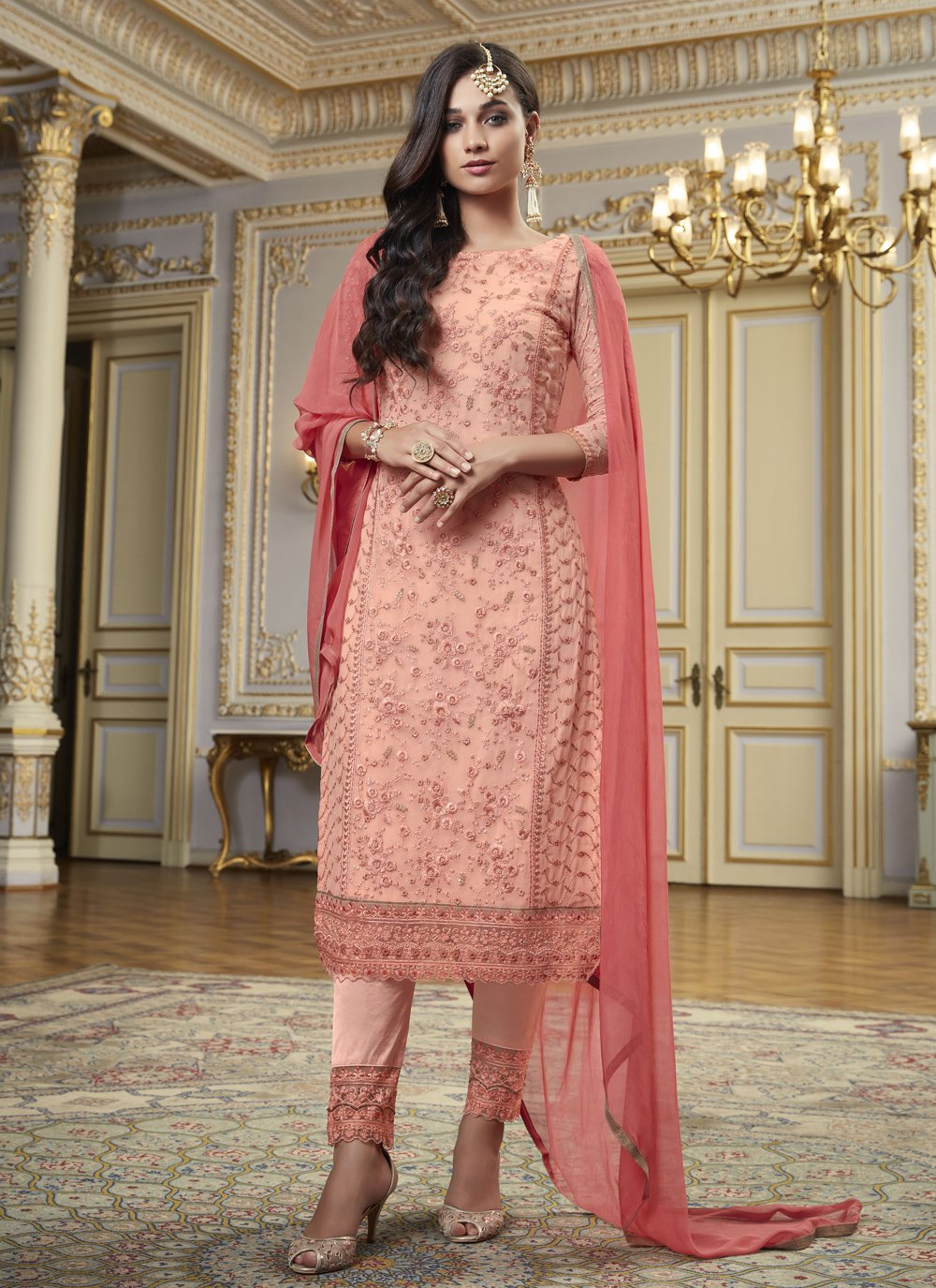 Faux Georgette Embroidered Pink Designer Pakistani Suit