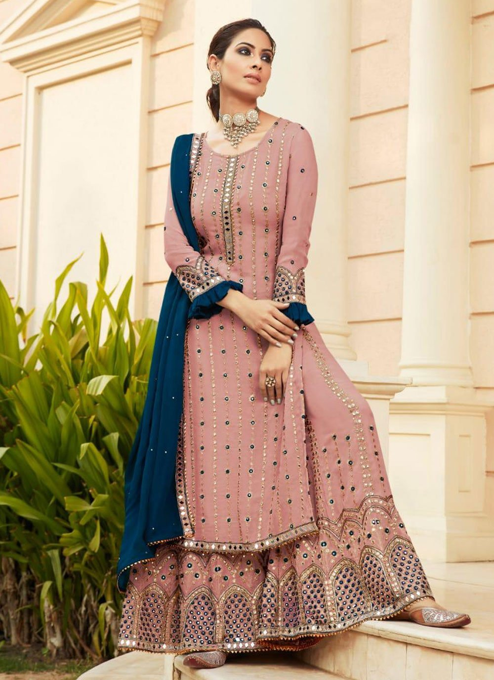 Faux Georgette Embroidered Pink Designer Palazzo Suit