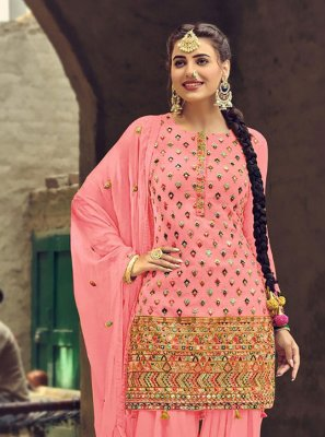 Faux Georgette Embroidered Pink Patiala Suit