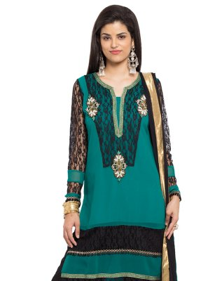 Faux Georgette Embroidered Rama Indo Western