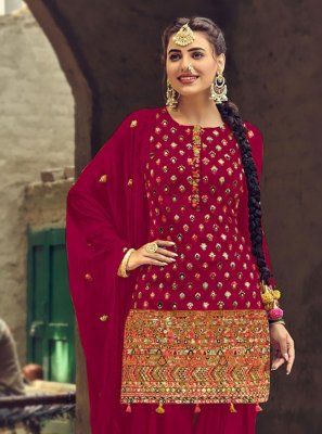 Faux Georgette Embroidered Rani Patiala Salwar Suit