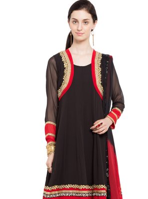 Faux Georgette Embroidered Readymade Anarkali Salwar Suit in Black