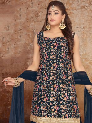 Faux Georgette Embroidered Readymade Suit