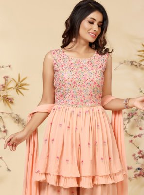 Faux Georgette Embroidered Readymade Suit in Peach