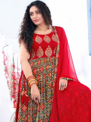 Faux Georgette Embroidered Red Readymade Suit