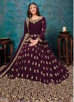Faux Georgette Embroidered Trendy Salwar Kameez in Wine