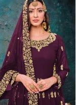 Faux Georgette Embroidered Trendy Salwar Kameez in Wine