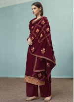 Faux Georgette Embroidered Wine Designer Pakistani Suit