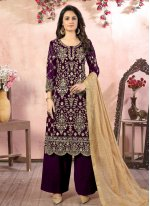 Faux Georgette Embroidered Wine Designer Palazzo Suit